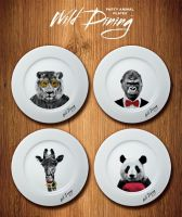 Wild Dining Party Animal Dinner Plates - Set of 4 Giraffe Panda Lion Gorilla