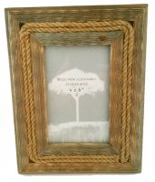 "Small Rope Reclaimed Wood Picture Frame - 6""x4"""