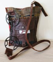 Cartwheel Bit Brown Tweed & Leather Handbag - Joey D