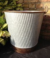 Zinc Metal Copper Detail Extra Large Tall Garden Planter with Rope Handles