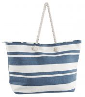 Beach Bag Extra Large - New England Blue & White Pinstriped Rope Handle