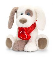 Ruffles Patch Dog Soft Toy with Red Heart 35cm - Keel
