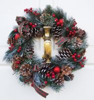 Christmas Wreath - Pine Cones, Baubles & Berries - Red - Foliage