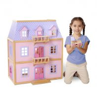 Melissa & Doug Wooden Deluxe Multi-Level Dollhouse & Furniture