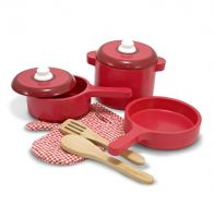 Melissa & Doug Wooden Pots & Pans Kitchen Accessory Pretend Play Set