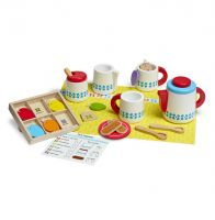 Melissa & Doug Wooden Steep & Serve Tea & Biscuits 15 Piece Pretend Play Set