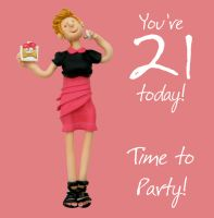21st Female Birthday Card - Time to Party One Lump Or Two