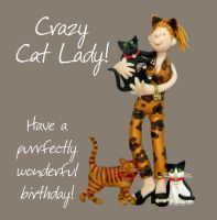 Birthday Card - Female Funny Humour Crazy Cat Lady One Lump Or Two