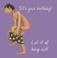 Birthday Card - Rude Funny Humour Naked Man One Lump Or Two