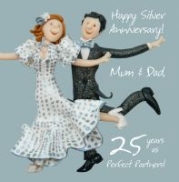 Silver Wedding Anniversary Card - Mum & Dad 25 Years One Lump Or Two