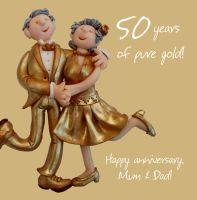 Wedding Anniversary Card - Mum & Dad 50th 50 Years Golden One Lump Or Two