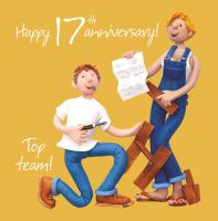 Wedding Anniversary Card - 17th Seventeenth 17 Years One Lump Or Two