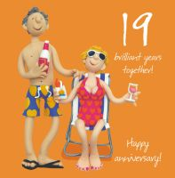 Wedding Anniversary Card - 19th Nineteenth 19 Years One Lump Or Two