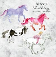 Happy Birthday Card - Galloping Horses & Girl