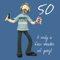 50th Male Birthday Card - 80 & only a few shades of grey! One Lump Or Two