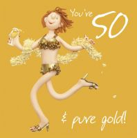 50th Female Birthday Card - Pure Gold One Lump Or Two
