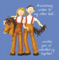 Anniversary Card - Other Half Horse Suit One Lump Or Two