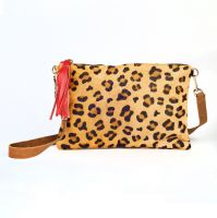 Leopard Print Cow Hide & Red Leather Tassel Clutch Handbag - My Doris
