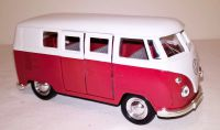 VW Red Classic Campervan Die Cast Car Scale Model 1:38