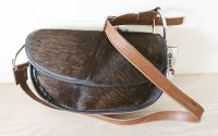 Cowhide Dark Brown & Bull Ring Half Moon Handbag - Joey D