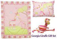 Georgia Giraffe - Bedroom Cot Bed Set - Quilt, Pillow & Soft Toy