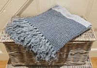 Grey with Dark Blue Panels Eco Throw 100% Cotton