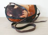Cowhide Brown & Bull Ring Half Moon Handbag - Joey D