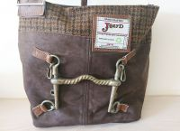 Vintage Weymouth Bit Brown Suede Leather & Tweed Boogie Handbag - Joey D