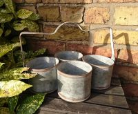 Zinc Metal Set of Four Garden Planter Pot with Handle - Distressed Look