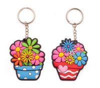 Set of 10 - Flower Pot Rubber Key Ring - Party Bag Filler