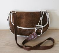 Cowhide Dark Brown & Silver Half Moon Crescendo Bit Handbag - Joey D