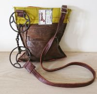Cartwheel Bit Green Brown Leather Handbag - Joey D
