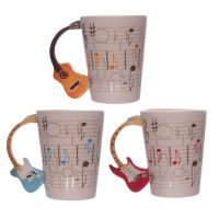 Sheet Music & Guitar Handle Ceramic Mug in Box
