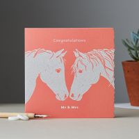 Wedding Card - Horse - Congratulations Mr & Mrs