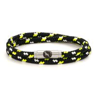 Firefly Black Yellow Double Rope Bracelet Steel Clasp - Boing