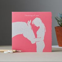 Thinking of You Card - Horses Head with Girl