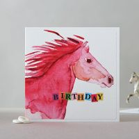 Happy Birthday Card - Horses Head Pink