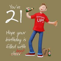 21st Male Birthday Card - Bottoms Up! Beer One Lump Or Two