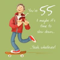 55th Male Birthday Card - Skateboard One Lump Or Two