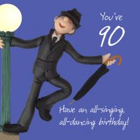 90th Male Birthday Card - Singing Dancing One Lump Or Two