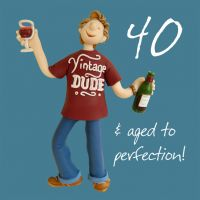 40th Male Birthday Card - Vintage Dude Aged to Perfection One Lump Or Two