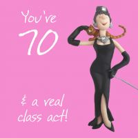 70th Female Birthday Card - Class Act One Lump Or Two