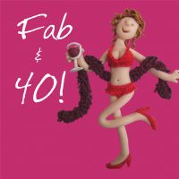 40th Female Birthday Card - Fab Feather Boa One Lump Or Two