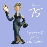 75th Female Birthday Card - Wow Factor One Lump Or Two