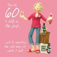 60th Female Birthday Card - Wine Drinking One Lump Or Two