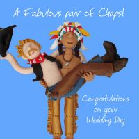Wedding Day Card - Civil Partnership Male Chaps  One Lump Or Two