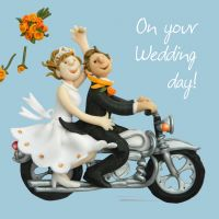Wedding Day Card - Motorbike One Lump Or Two