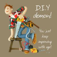 Birthday Card - Male Funny Humour DIY demon One Lump Or Two