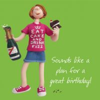 Birthday Card - Female Funny Humour Eat Cake Drink Fizz One Lump Or Two