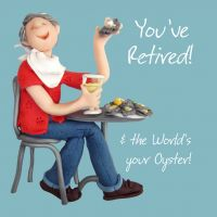 Retirement Card - Male - World's Your Oyster One Lump Or Two